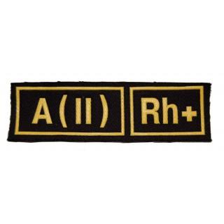 """Nášivka """"A(II) RH+"""" černá"""