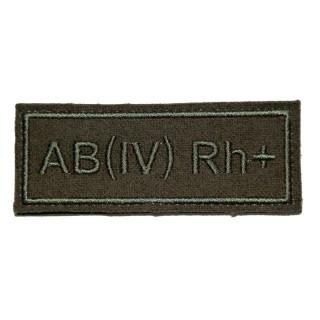 """Nášivka VKBO """"AB(IV) RH+"""" (krevní skupina)"""