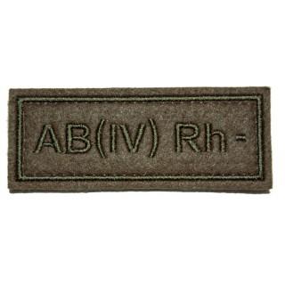 """Nášivka VKBO """"AB(IV) RH-"""" (krevní skupina)"""