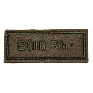 """Nášivka VKBO """"B(III) RH-"""" (krevní skupina)"""