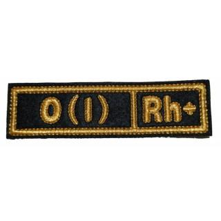 """Nášivka """"O(I) RH+"""" černá (hedvábí)"""