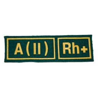 """Nášivka """"A(II) RH+"""" zelená (Pohraniční vojsko)"""