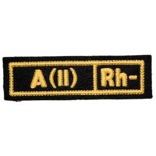 """Nášivka """"A(II) RH-"""" černá (hedvábí)"""