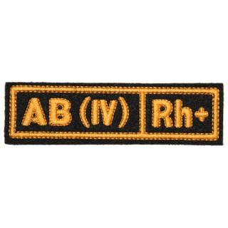 """Nášivka """"AB(IV) RH+"""" černá (hedvábí)"""